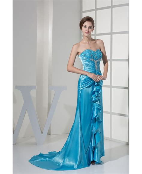 ruffled sweetheart lace beaded blue prom dress with