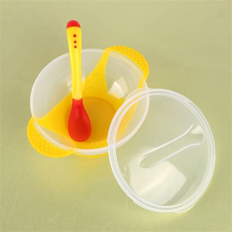 Toddler Mealset Suction Bowl Sendok Garpu baby bowl dishes with suction cup assist food bowl temperature sensing spoon feeding