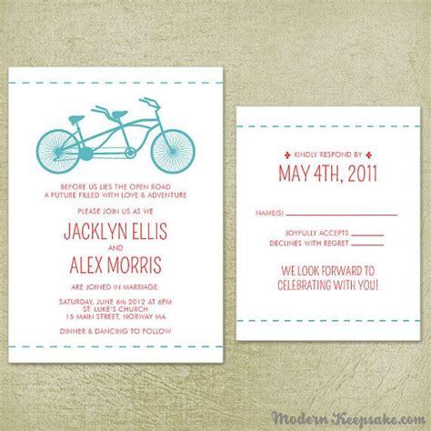 wedding rsvp wording sles wedding invitation suite tandem bicycle sle set