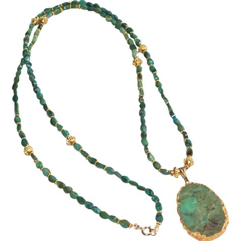 green turquoise necklace with apple green