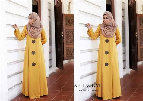 Baju Raya Warna Mustard dress silk arianna mesra penyusuan all sold out saeeda collections