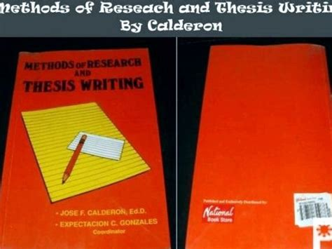 Methods Of Thesis Writing by Methods Of Research And Thesis Writing By Jose Calderon