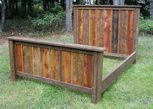 Reclaimed Wood Bed Frame Etsy King Size Reclaimed Rustic Bed And Nightstands By Echopeakdesign