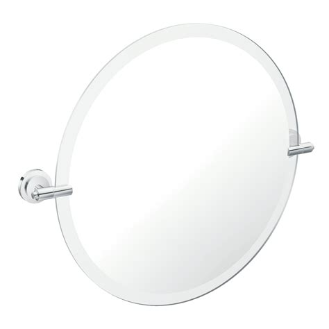 chrome bathroom mirrors shop moen iso 22 in x 22 in chrome round frameless bathroom mirror at lowes com