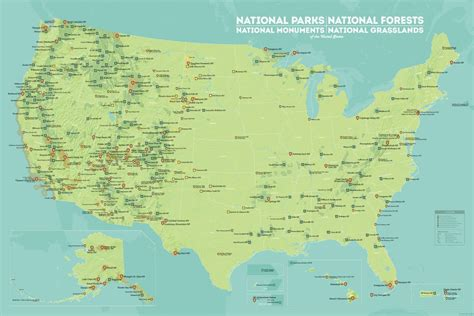 national monuments map us national parks monuments forests map 24x36 poster