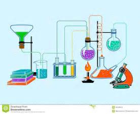 Chem Free Scientific Laboratory Flat Background Stock Vector Image
