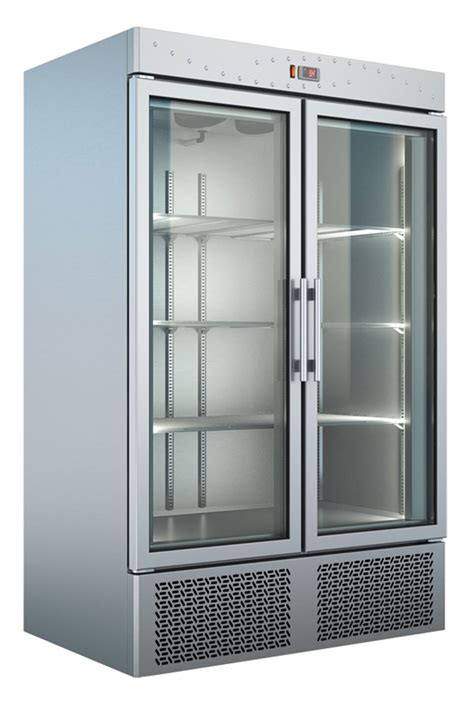 Lemari Stainless Steel furniture mounted refrigerator with silver stain freezer cabinet with 2 glass doors and