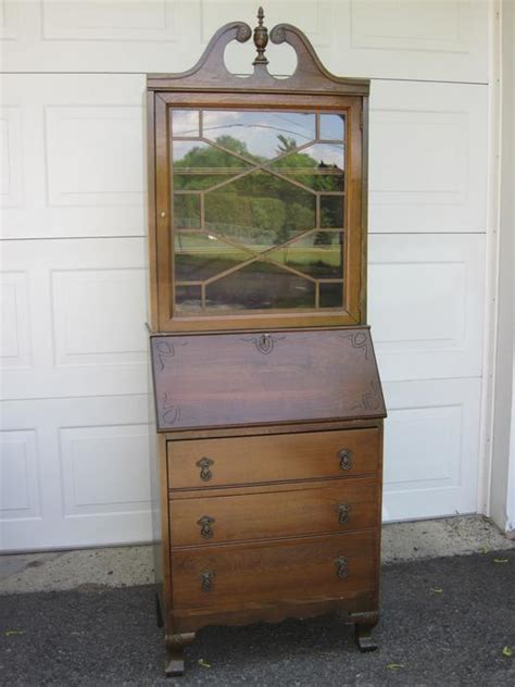 hutch antique front desk with bookcase