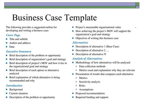 business case template free business template