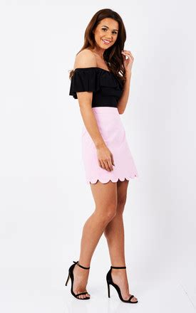Sale Tq Hem Luna5 pink scallop hem skirt silkfred