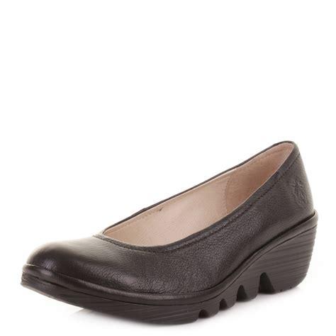 womens fly black leather wedge heel
