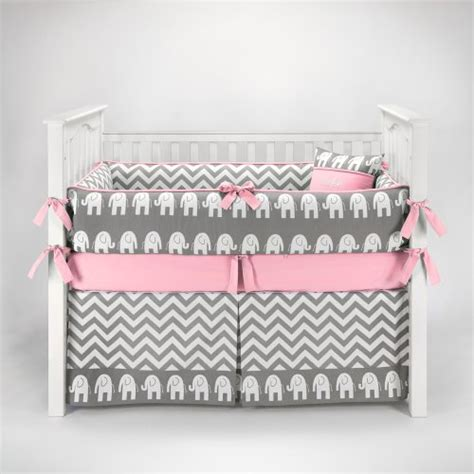 Elephant Chevron Zig Zag Gray Pink Baby Bedding 5pc Gray And Pink Chevron Crib Bedding