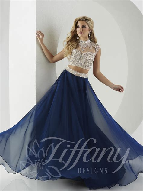 design dress for graduation tiffany designs 16135 choker 2pc prom gown french novelty