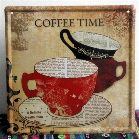Coffee Themed Kitchen Wall Decor by Vintage Coffee Time Metal Sign Home Kitchen Wall Decor Tin
