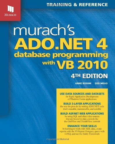programming with databases books ebook murach s ado net 4 database programming with vb 2010