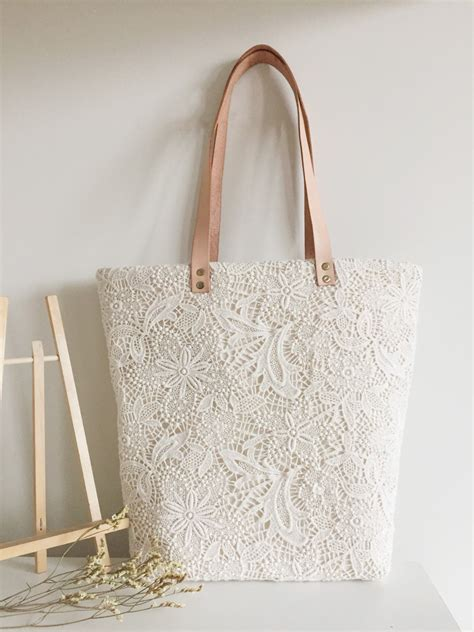 White Laced Leather Handbag by Lace Bag