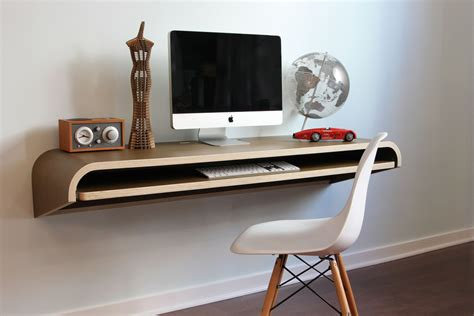 minimalist wooden float wall desk for imac with storage