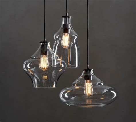 Pottery Barn Lighting Pendant Mccarthy 3 Light Glass Pendant Pottery Barn