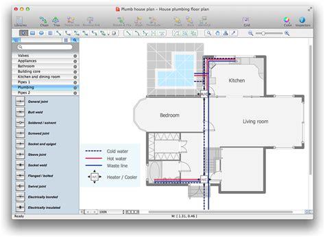 plumbing floor plan creating a residential plumbing plan conceptdraw helpdesk