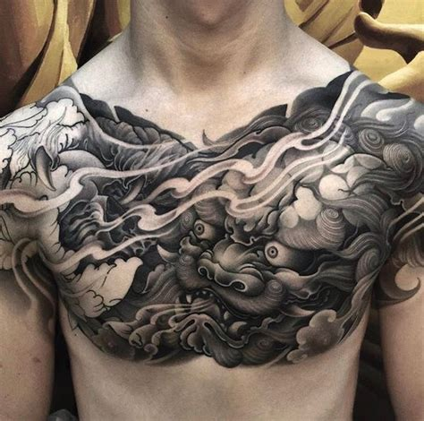 japanese chest tattoos foo tattoos designs fu meaning