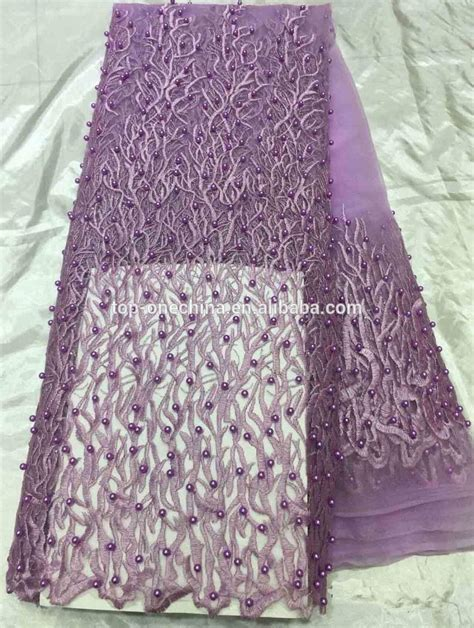 Handmade Lace Fabric - pearls lace fabric beaded handmade aso ebi lace