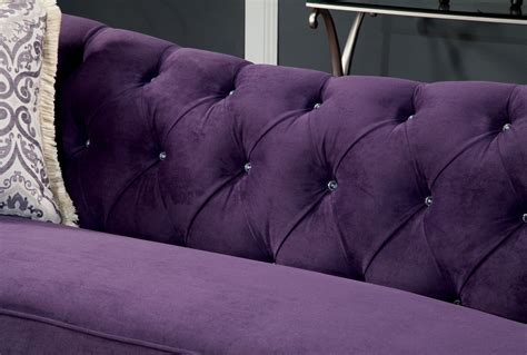 luxurious modern purple sofa loveseat tufted seat back