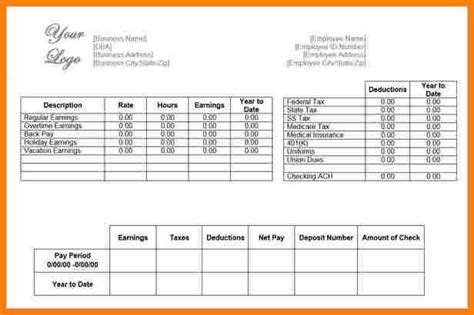 paycheck stub template microsoft word 9 paycheck stub template in microsoft word sles of