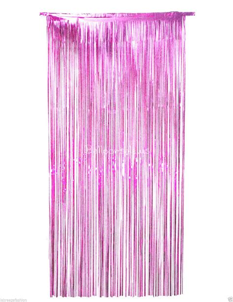 Cheap 3 Ft X 9 Ft Pink Metallic Foil Fringe Curtains