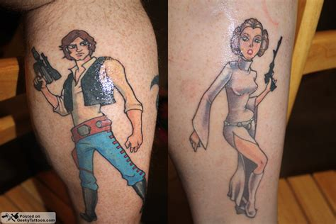 geeky couple tattoos matching han and leia tattoos geeky tattoos