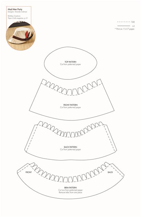 printable paper hat instructions birthday creations v 3 patterns mad men party cameo