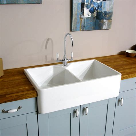 White Sinks For Kitchen Astini Belfast 800 2 0 Bowl Traditional White Ceramic