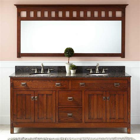 """72"""" Harington Oak Double Vanity for Undermount Sinks"""