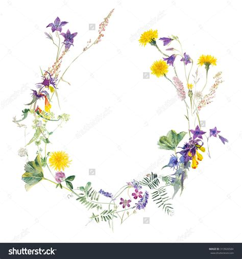 watercolor tattoo wildflowers bouquet from meadow flowers circle frame watercolor