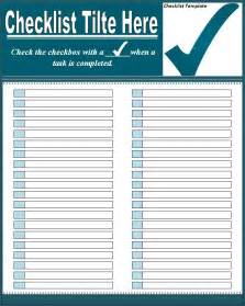 Checklist Template Excel by Checklist Template Free Formats Excel Word