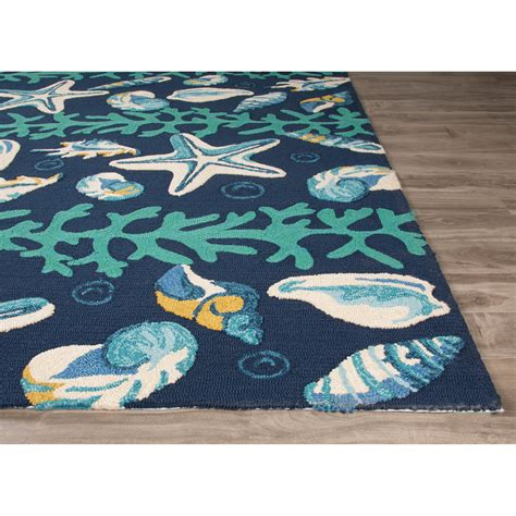 Coastal Outdoor Rugs Jaipurliving Coastal Lagoon Blue Ivory Indoor Outdoor Area Rug Reviews Wayfair