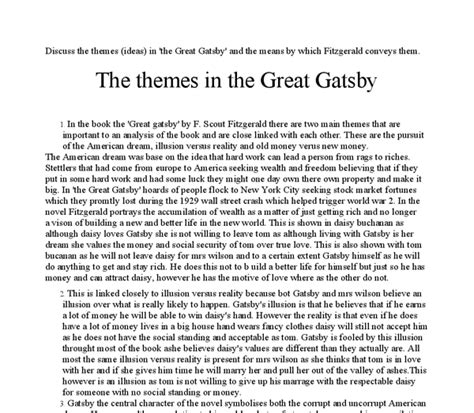 themes in the great gatsby pdf discuss the themes ideas in the great gatsby and the