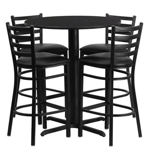 Bar Height Round Dining Table Set With 4 Bar Stool Chairs Bar Stool Dining Table