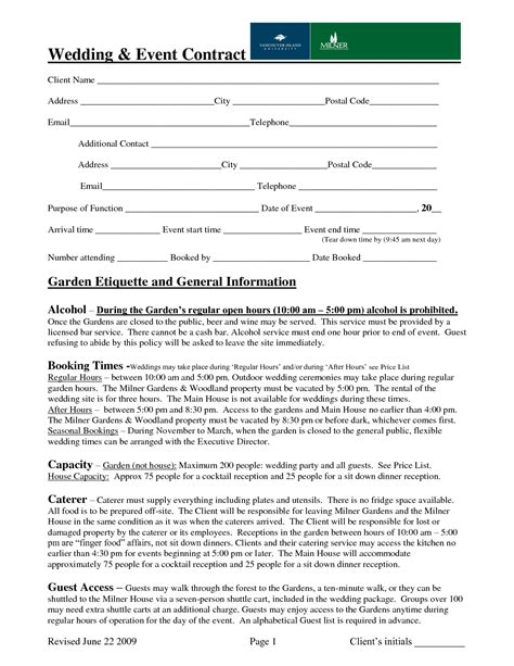 wedding planner contract template wedding event contract sle contract