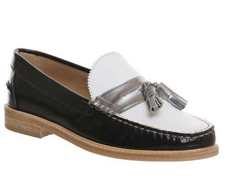 Maharani Loafer Flats Dir Co office beth tassle loafer black white silver leather flats