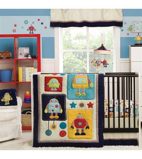 kidsline crib bedding set kidsline robots play 4 crib bedding set