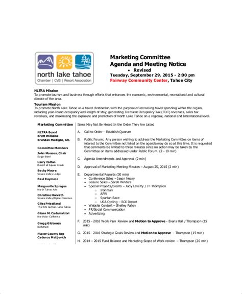 vendor meeting agenda template 10 marketing meeting agenda templates free sle