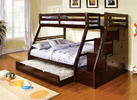 Wooden Bunk Bed With Trundle Youth Wood Espresso Storage Stairway Bunk Bed With Trundle Ebay