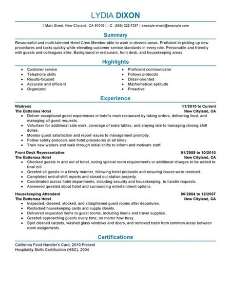 Example Housekeeping Resume by Crew Member Resume Examples Hotel Amp Hospitality Resume