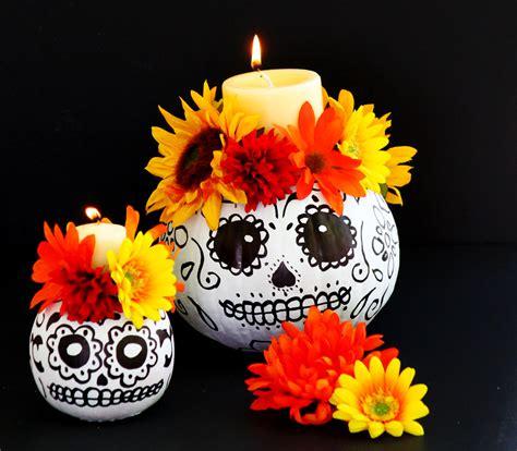 imagenes de calaveras y calabazas easy to make day of the dead skull pumpkin candle holders