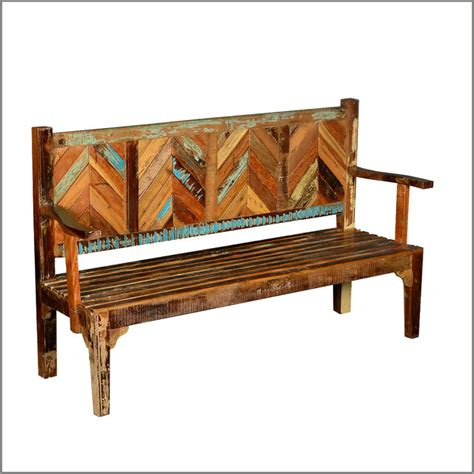 rustic outdoor bench parquet reclaimed wood rustic high back porch bench
