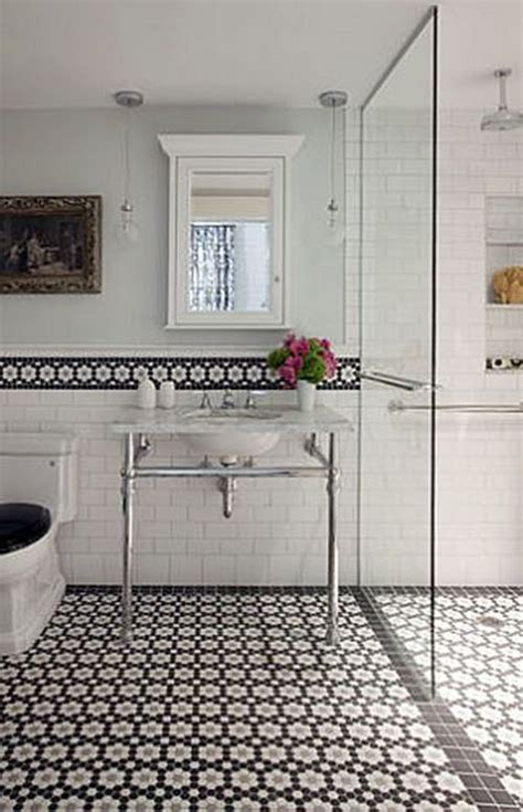 Black And White Tiled Bathroom Ideas 37 Black And White Hexagon Bathroom Floor Tile Ideas And