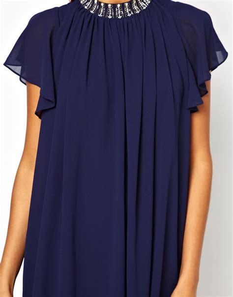 tfnc swing dress tfnc london tfnc swing dress with embellished neck in blue