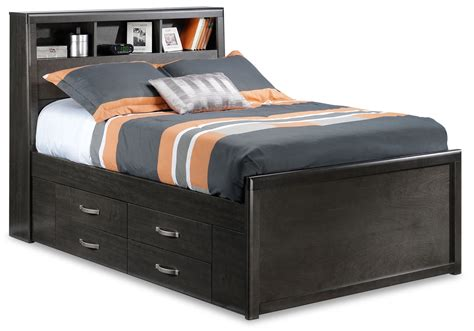 full beds with storage dessy junior full storage bed charcoal leon s