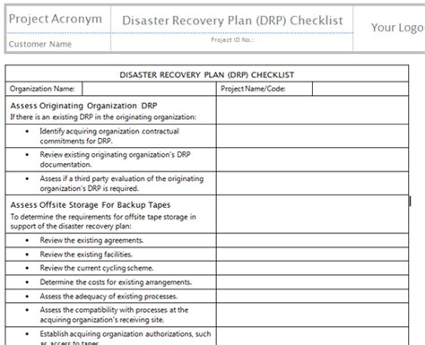 disaster recovery plan checklist template disaster recovery planning checklist the history of