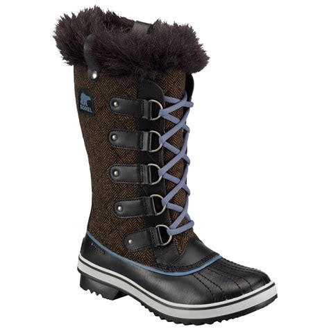 sorel tofino herringbone winter boot in black brown lyst